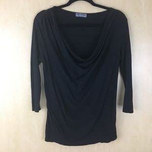Michael Stars Women's Black Drape Cowl Neck Top
